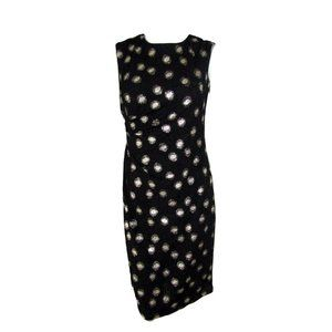 Cleo  Black Textured Dress with Gold Dots Size 4 P